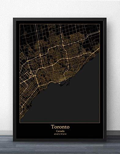 ZWXDMY Leinwand Bild,Kanada Toronto Stadtplan Drucken Schwarz Und Weiß Einfach Text Canvas Poster Malerei Wandbild Rahmenlose Wohnzimmer Coffee Shop Office Home Dekoration, 70 X 100 cm