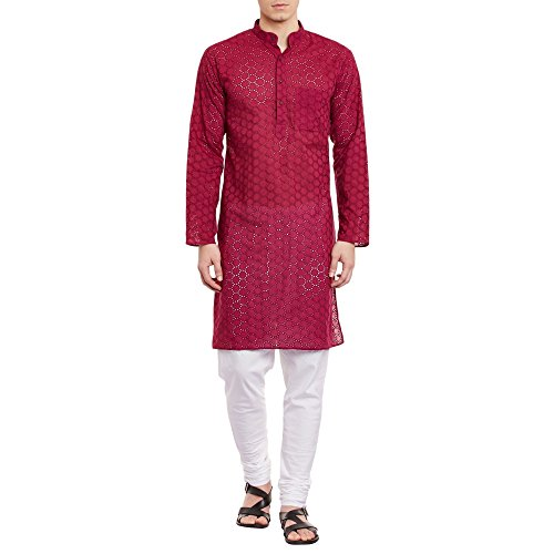 ShalinIndia Herren Bestickt Cutwork Kurta mit Churidar Pyjama Hose Maschine Baumwollstickerei, Brust 52 Zoll, XXXL, Maroon -