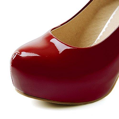 Tire Pu à VogueZone009 Unie Femme Haut Chaussures Cuir Légeres Couleur Rond Rouge Talon UEUxCtwq4n