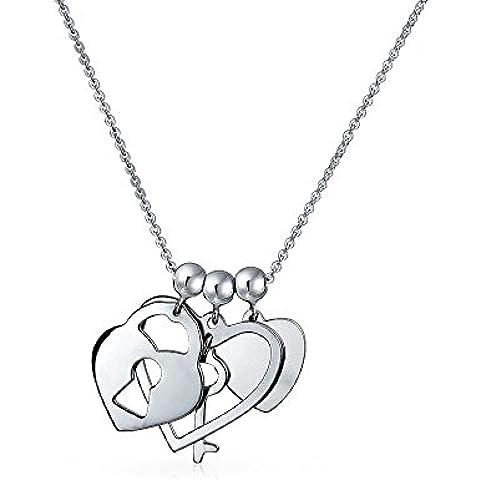 Regalos de Navidad Bling Jewelry Sterling Silver clave para mi Corazón Colgante Charms Necklace 20en