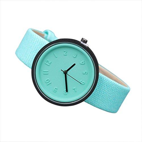Valentinstag Uhren DELLIN Unisex Simple Fashion Number Uhren Quarz Leinwand Gürtel Armbanduhr (Minzgrün)
