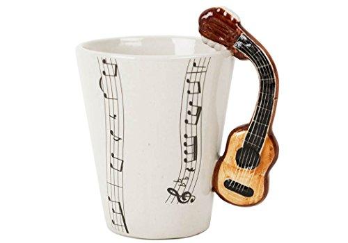 Chitarra tazza da caffè ceramica realizzata a mano 8 oz (23,6 cl) acustica (10cm x 8cm)