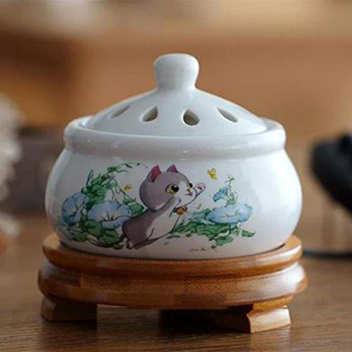 WEEBGGH Elektronische Keramik Aromatherapie Ofen Timing Temperaturregelung Weihrauch Brenner Adlerholz Ätherisches Öl Elektrische Diffusor Home Porzellan cat -