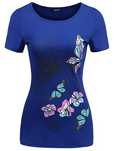 Zeagoo Damen Schmetterling Druck Kurzarm T-Shirt Blumen Top Floral Bluse (L, Blau) (Floral Kurzarm-bluse)