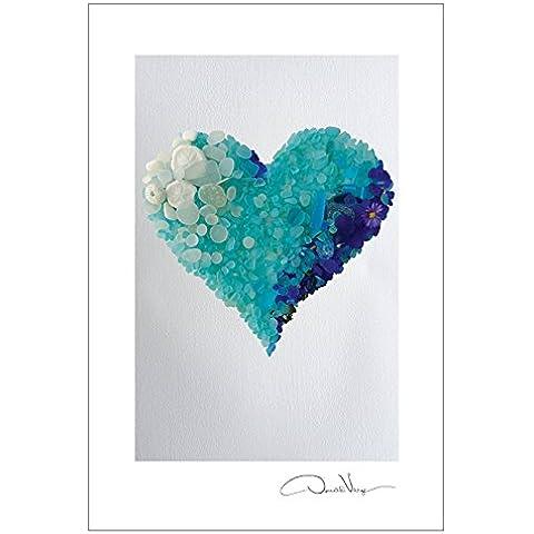 Aqua postal impresiones corazón.  10 paquete, 4 x 6. Mejores regalos de calidad, tarjetas de cumpleaños, gracias notas e invitaciones. Serie del corazón. Único Navidad y regalos de San Valentín para las mujeres, hombres y niños de todas las edades
