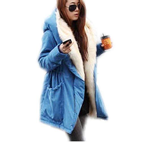 Saoye Fashion Ledermantel Damen Winter Verdicken Lederjacke Einfarbig Vordertaschen Button Langarm Mit Gürtel Kapuzenmantel Kleidung Moderner Stil Parka (Color : Blau, Size : 2XL)