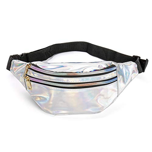 Qisiewell Mode-Bauchtasche Wander-Hüfttasche Sport-Gürteltasche 3 Fächer Reißverschluss Verstellbarer Gurt Damen/Herren (Laser-Rosa/Weiß) (Weiß)