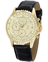 Reloj Dorado de Hombre, con Esfera Grande con Acentos de Diamante Multi-función Día-Fecha y Correa Negra de Piel de Konigswerk AQ101104G SQ201422G