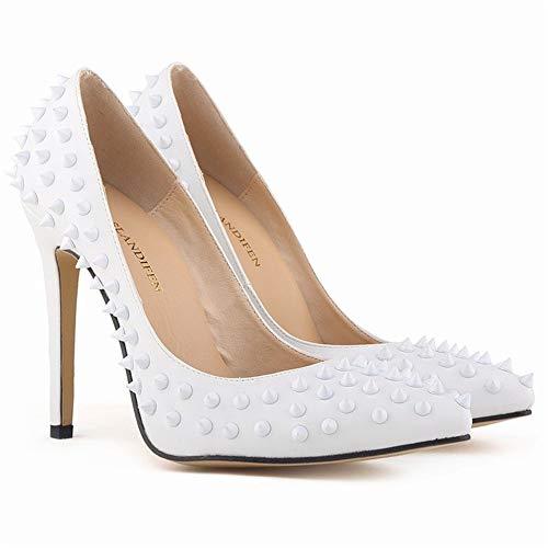 Top Shishang Frauen Spitze Spitze Ankle Tie High Heel Slip On Pumps Sexy, Weißer Matte Stud, 41 Heel Sexy Pump
