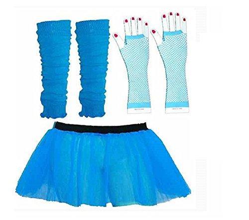 3pièces Turquoise Tutu pour femme adultes 8-14UK Mini-jupe/Jambières/Gants en résille bleu 80de déguisement (Kostüm Jupe Pour Femme)
