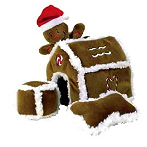 Kyjen Hide-A-Toy Gingerbread House Puzzle Plush Interactive Dog Toy