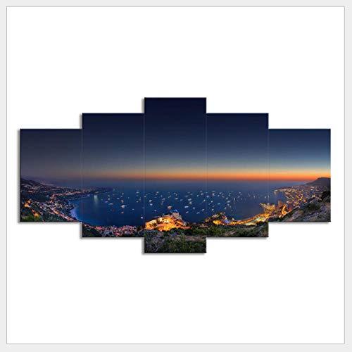 3 stücke von Monaco nacht leinwand malerei auf leinwand druck dekoration HD druck leinwand malerei wandkunst (kein rahmen / 30x40x2 30x60x2 30x80cmx1) -