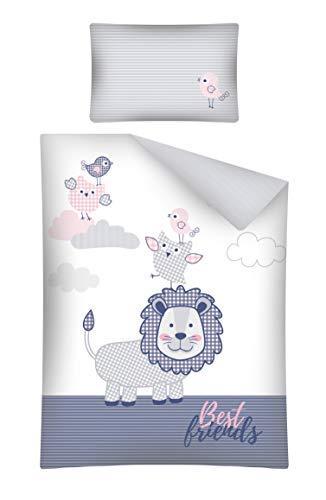 Kinderbettwäsche viele Designs 2-tlg. 100% Baumwolle 40x60 + 100x135 cm (Löwe rosa)
