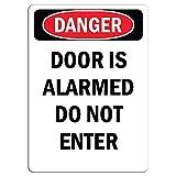 """Adesivo di avvertimento con scritta """"Danger Sign - Door is Alarmed Do Not Enter"""" - Adesivo di avvertimento di sicurezza per finestrini e auto, 20 x 30 cm"""