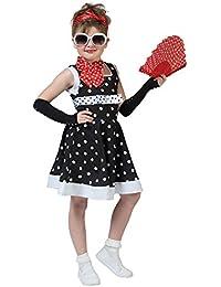 Retro Kostüm Dolly für Mädchen - Rockabilly 50er 60er Jahre Kleid für Kinder