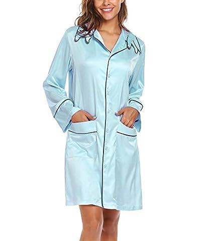 Keland Femmes Pyjama en Satin Casual Chat Forme Collet Robes Manches Longues