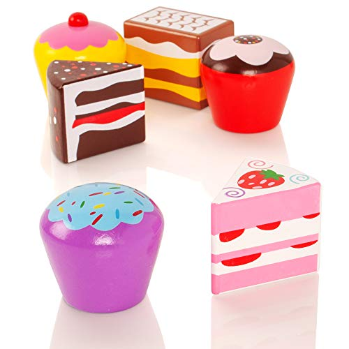 Viga Wooden Cakes Set 6 Pack - Childrens Pretend Kitchen Play Food