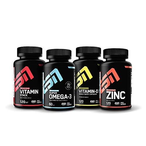 ESN Vitamine Pack - hochwertige Vitaminpräparate - 120 Kapseln Vitamin Stack, 120 Kapseln Zinc, 60 Kapseln Omega-3 mit 75% Omega Fettsäuren und 120 Kapseln natürliches Vitamin D3