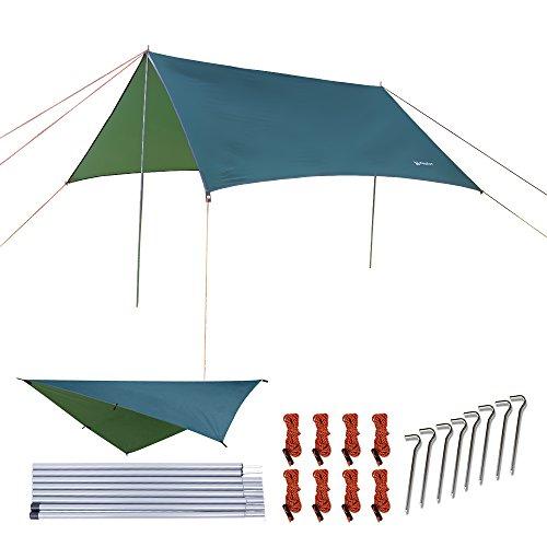 NATUREFUN Incerata Impermeabile per Tenda Amaca 3 × 3 m Esterno Campeggio Rifugio Spiaggia Parasole Tappetino Picnic Impermeabile Sopravvivenza Antistrappo Leggero