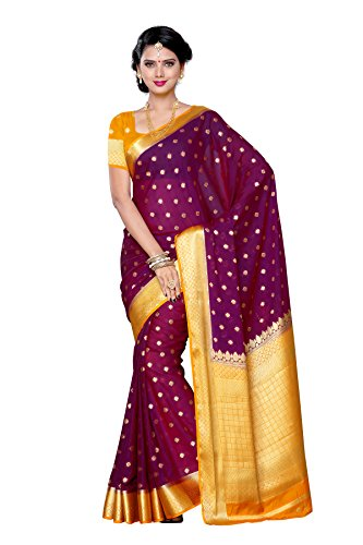 Mimosa Women's Traditional Crepe Silk Saree Kanjivaram Style With Blouse Color:Mejantha(3312-2087-MEJ-GLD )  available at amazon for Rs.1699
