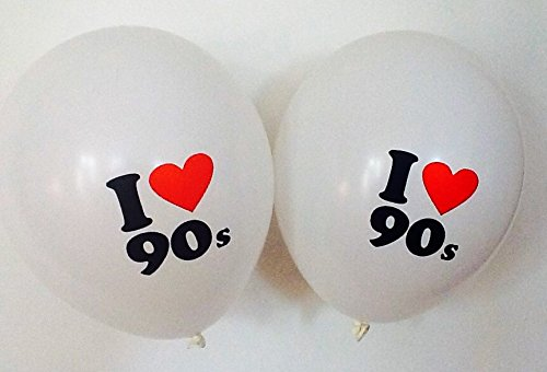 10 x I Love 90s Balloons - Suitable for air or helium quality