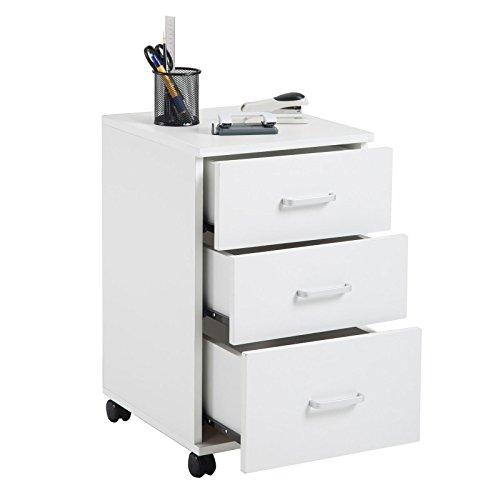 CARO-Möbel Rollcontainer JUPITER Bürocontainer Büroschrank, in weiß, mit 3 Schubladen, 35 x 60 x 40 cm - 2