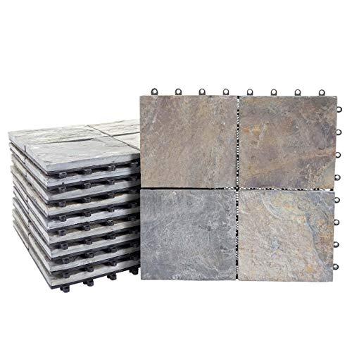 Mendler Steinfliese HWC-E18, Bodenfliese Steckfliese Balkon/Terrasse Naturstein, 11x je 30x30cm = 1m² ~ Granit bunt -