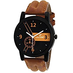 Dezine Analogue Black Dial Men's Watch -DZ-GR059-BLK-BRW