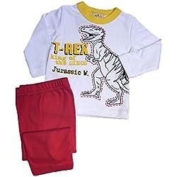 PIJAMA ESTAMPADO DINOSAURIO DOS PIEZAS 100% ALGODON (2, Pantalón rojo)