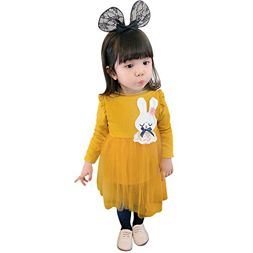 Mädchen Langärmelige Cartoon Kaninchen Nähen winterkleider YunYoud abschlusskleider winterkleid festtagskleid günstige stufenrock kinderröcke schulanfangskleid wickelrock - Stufenrock Nähen