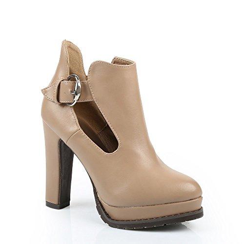 Ideal Shoes-Scarpette per tallone in similpelle Rosaline Beige (Beige)