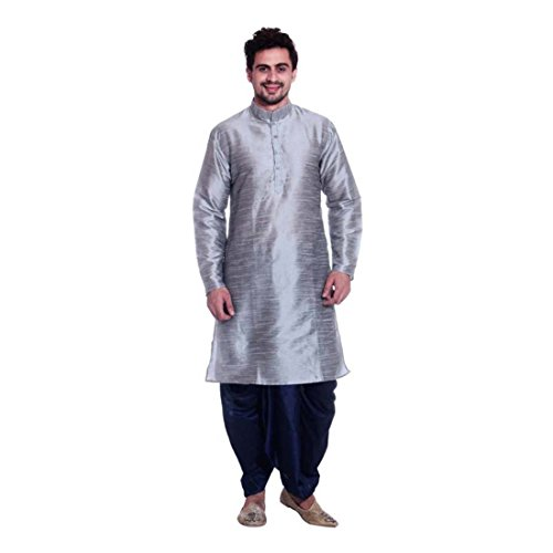 Men's Silver Solid Full Sleeve Dhoti & Kurta Set (Size:- S) - Dhoti Kurta