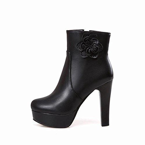 Mee Shoes Damen Plateau runde Trichterabsatz kurzschaft Boots Schwarz