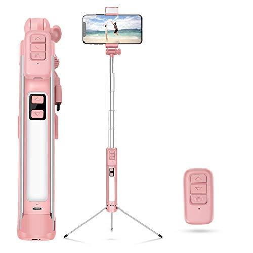 ZMXZMQ Selfie Stick Professionale, Treppiede, Telecomando Bluetooth, Luci di Riempimento LED Bidirezionali Stereo, Stick per Selfie 4 in 1 E Ampiamente Compatibile,Pink