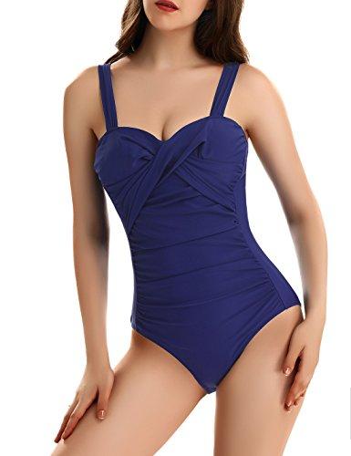 Damen Badeanzug Flacher Bauch Monokini Sexy Bademode Damen Push Up Tankini V Ausschnitt by NORA (Bügel Sport Badeanzug)