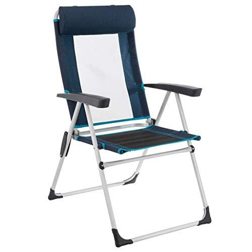 HLR Deckchairs Klappstuhl Mit Kopfstütze Schwerlast Tragbar Sessel Draussen Picknick Freizeit Lounge-Sessel, 2 Farben (Color : Blue)