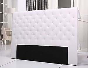 Tete de lit capitonnee king 160/180cm simili blanc
