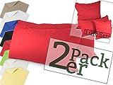 Doppelpack zum Vorteilspreis - Renforcé-Kissenbezüge aus 100% Baumwolle – schlicht und edel im Design, universell einsetzbar und kombinierbar - in 8 Uni-Farben, 40 x 80 cm, rot