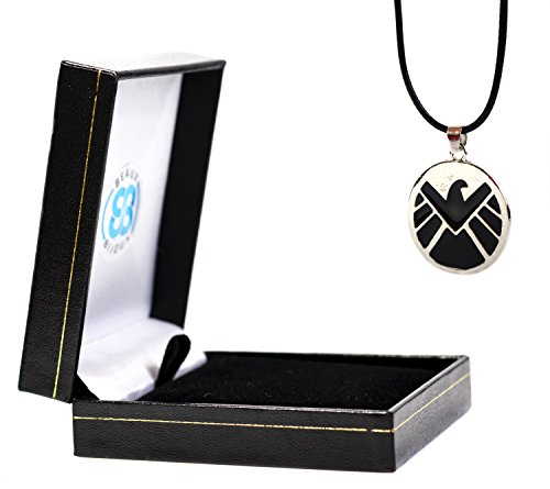 Halskette mit Anhänger, The Avengers Age of Ultron, schwarz und silber, Justice League Superhelden Marvel S.H.I.E.L.D. mit (Dress Superhelden Marvel)