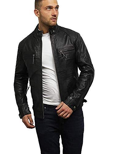 Brandslock uomo del motociclista in pelle giacca nera bnwt 100% vera pelle (medium, nero)