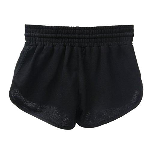 Y-BOA Short Court Femme/Fille Sport Fit Uni Bain Voyage Eté Souple Casual Maison Noir
