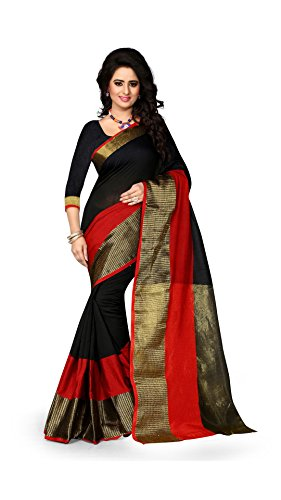 The Fashion Outlets Women's Cotton Silk Zari Jacquard Sarees(Free Size_Black)