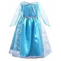 FREEFLY Girls Frozen Princess Dress Cosplay Halloween Party Fancy Outfit Kids