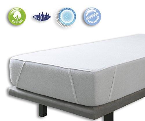 Velfont Wasserdichte atmungsaktive Matratzenschoner Matratzenauflage; 100% Baumwolle Frottee mit 4 Gummibände 100x200 cm