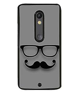 Fuson Designer Back Case Cover for Motorola Moto X Play (Twirling Moustache Spects Spectacles )