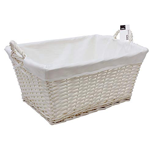 JVL Wäschekorb aus geflochtenem Holz mit weißem Textil
