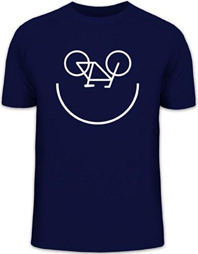 Shirtstreet24, Bike Smiley, Fahrrad Rennrad Herren T-Shirt Fun Shirt Funshirt, Größe: XL,dunkelblau