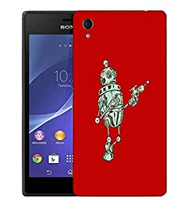 Snoogg Small Robot Designer Protective Back Case Cover For SONY XPERIA M4