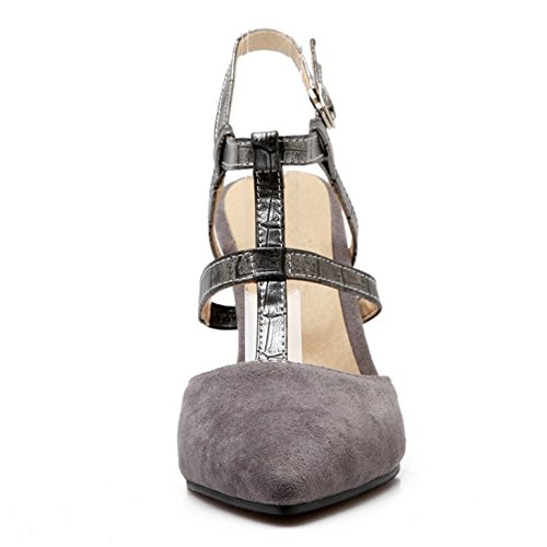 COOLCEPT Damen Mode T-Spangen Sandalen Stiletto Cut Out Geschlossene Slingback Schuhe Grau