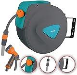 DMS Schlauchaufroller Gartenschlauchtrommel Wasserschlauchaufroller Schlauchtrommel Automatik inkl. Bewässerungsbrause Aufroller Garten Schlauch Wasserschlauch GST (30 Meter, Blau)